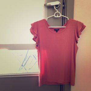 Express ruffle sleeve pink top